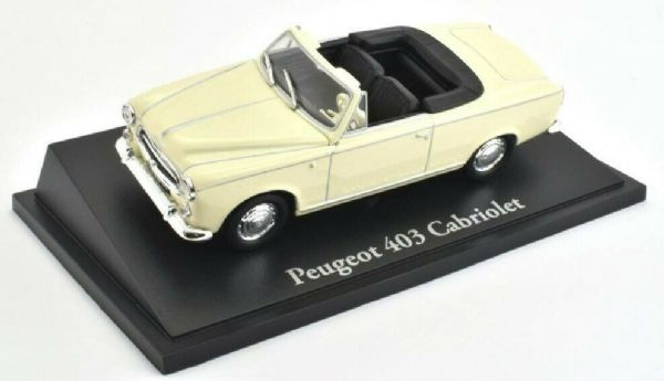Atlas KL22 1/43 Scale Classic Sports Cars Peugeot 403 Cabriolet - Cream / White